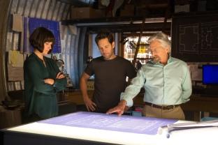 L to R: Hope Van Dyne (Evangeline Lilly), Scott Lang/Ant-Man (Paul Rudd) and Hank Pym (Michael Douglas).
