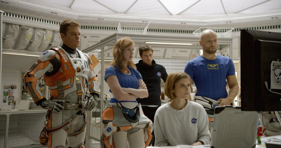 From left to right: Matt Damon as Mark Watney, Jessica Chastain as Melissa Lewis, Sebastian Stan as Chris Beck, Kate Mara as Beth Johanssen and Aksel Hennie as Alex Vogel.