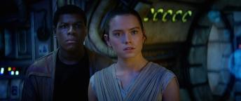 Finn (John Boyega) and Rey (Daisy Ridley).